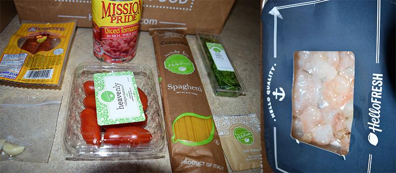 Hello Fresh ingredients for Spanish Style Spaghetti