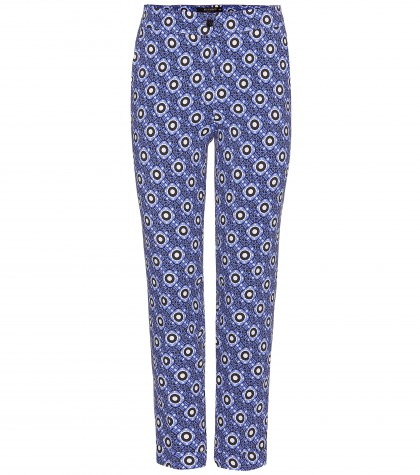 Etro Printed Stretch-crepe Straight-leg Trousers