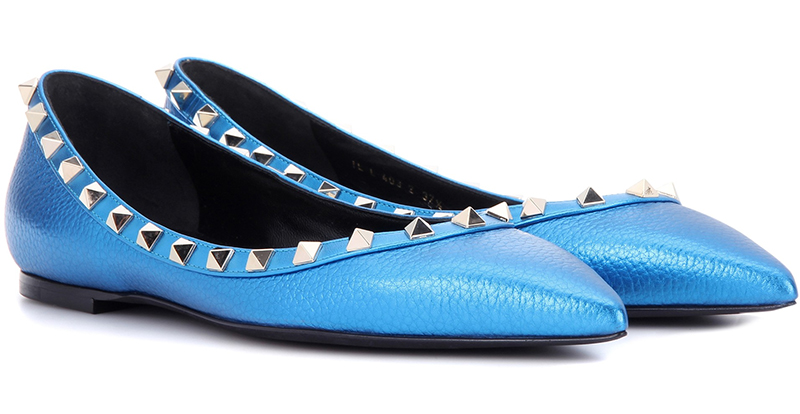 metallic electric blue Valentino rockstud ballerina flats
