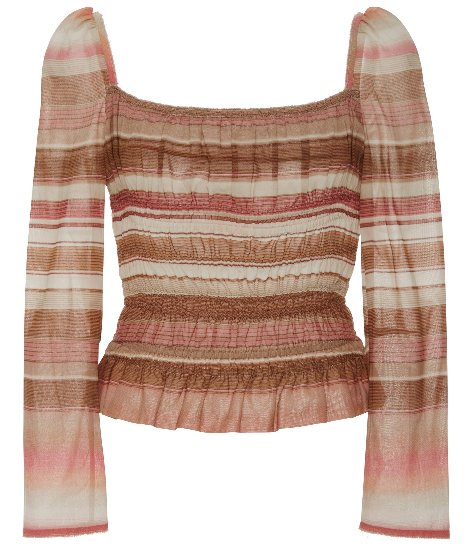 Brock collection brown stripe puffed shoulders subtle peplum hem voile elasticized Taylor top