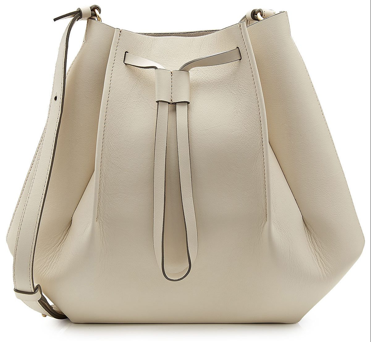 Maison Margiela Leather Shoulder Bag with Drawstring