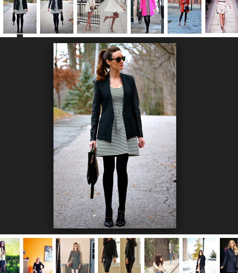Margo from the blog Classroom Couture wears black opaque tights with Valentino rockstud pumps