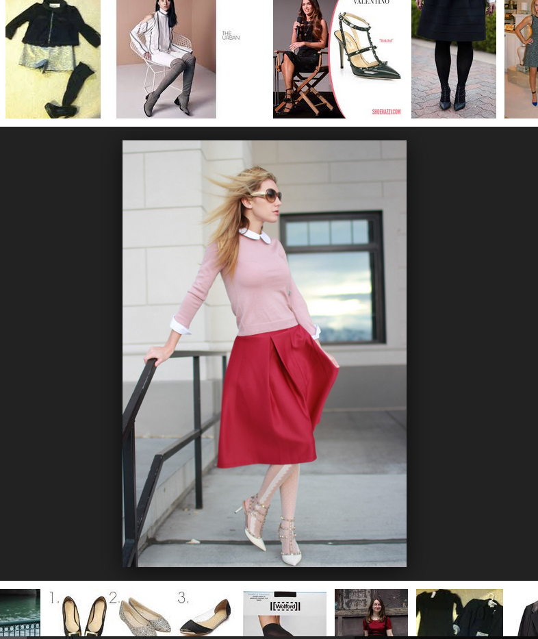 Shannon Bird from the blog Bird a la mode wears white tights with Valentino rockstud pumps