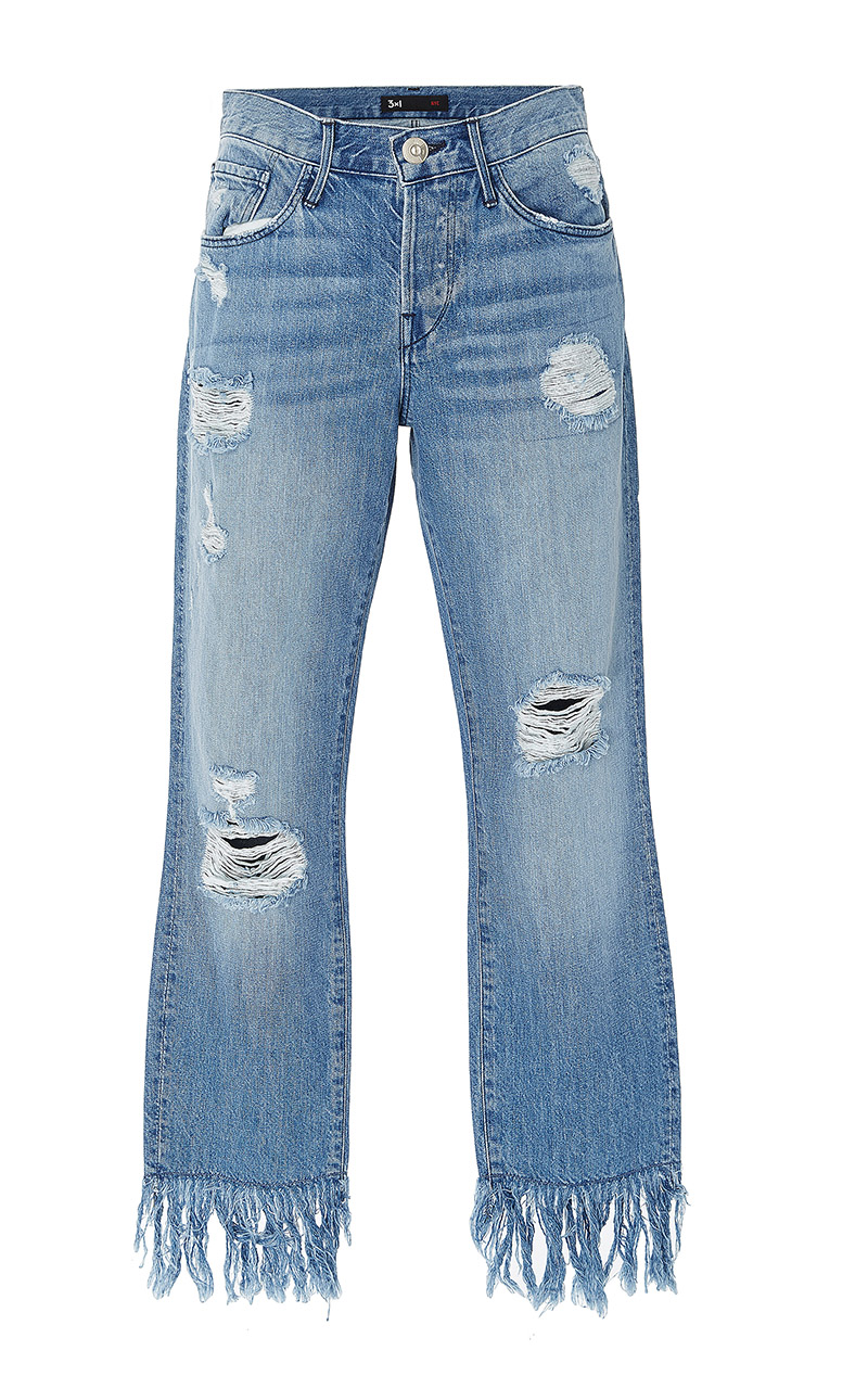 3X1 Mid Rise Distressed Straight Leg Jeans