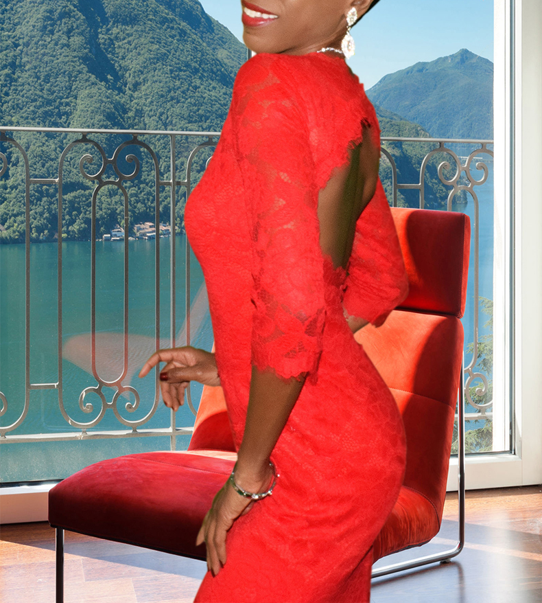 monica betsey and adam red gown open back