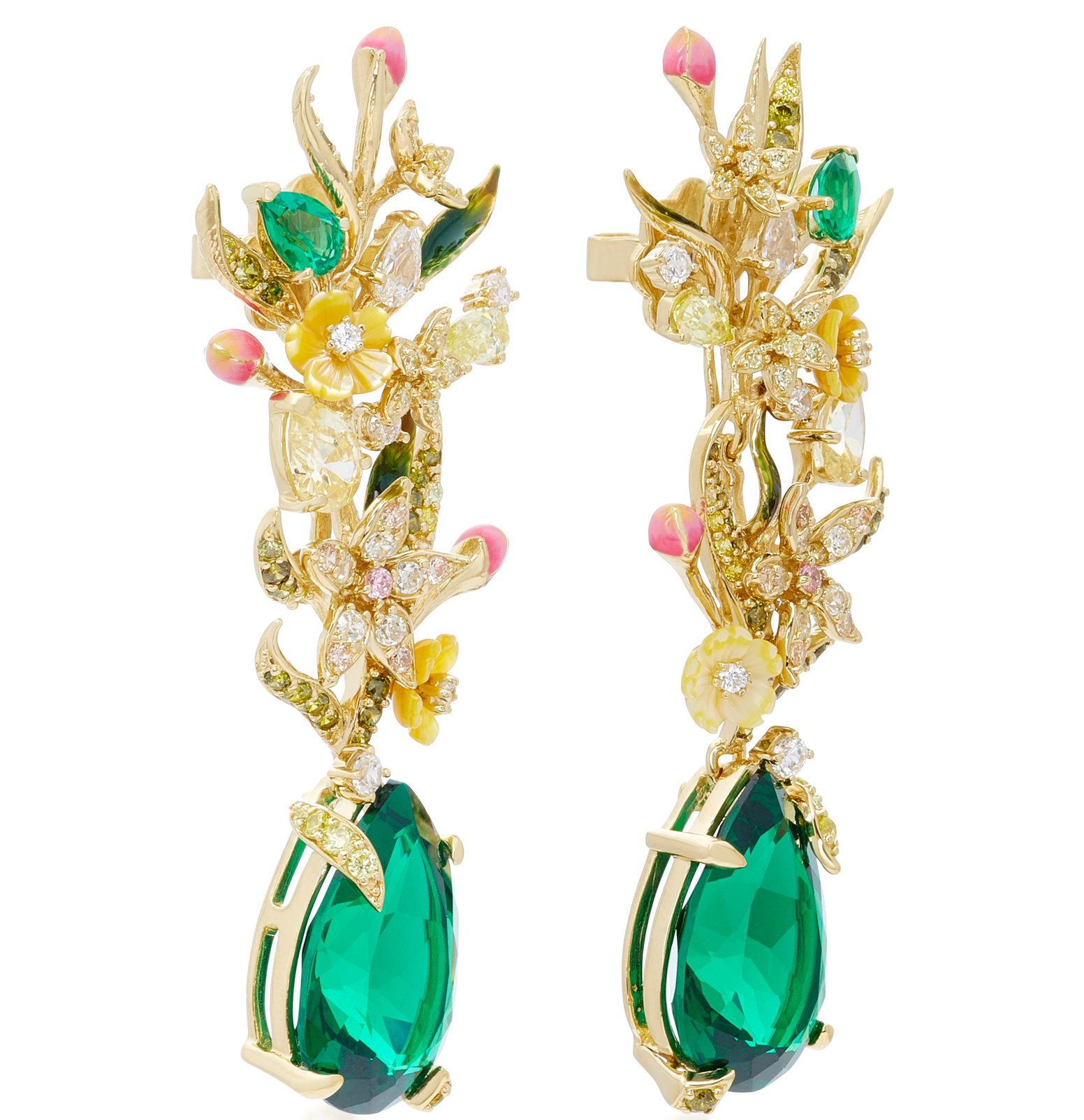 Anabela Chan earrings 18K yellow gold multi-stone earrings