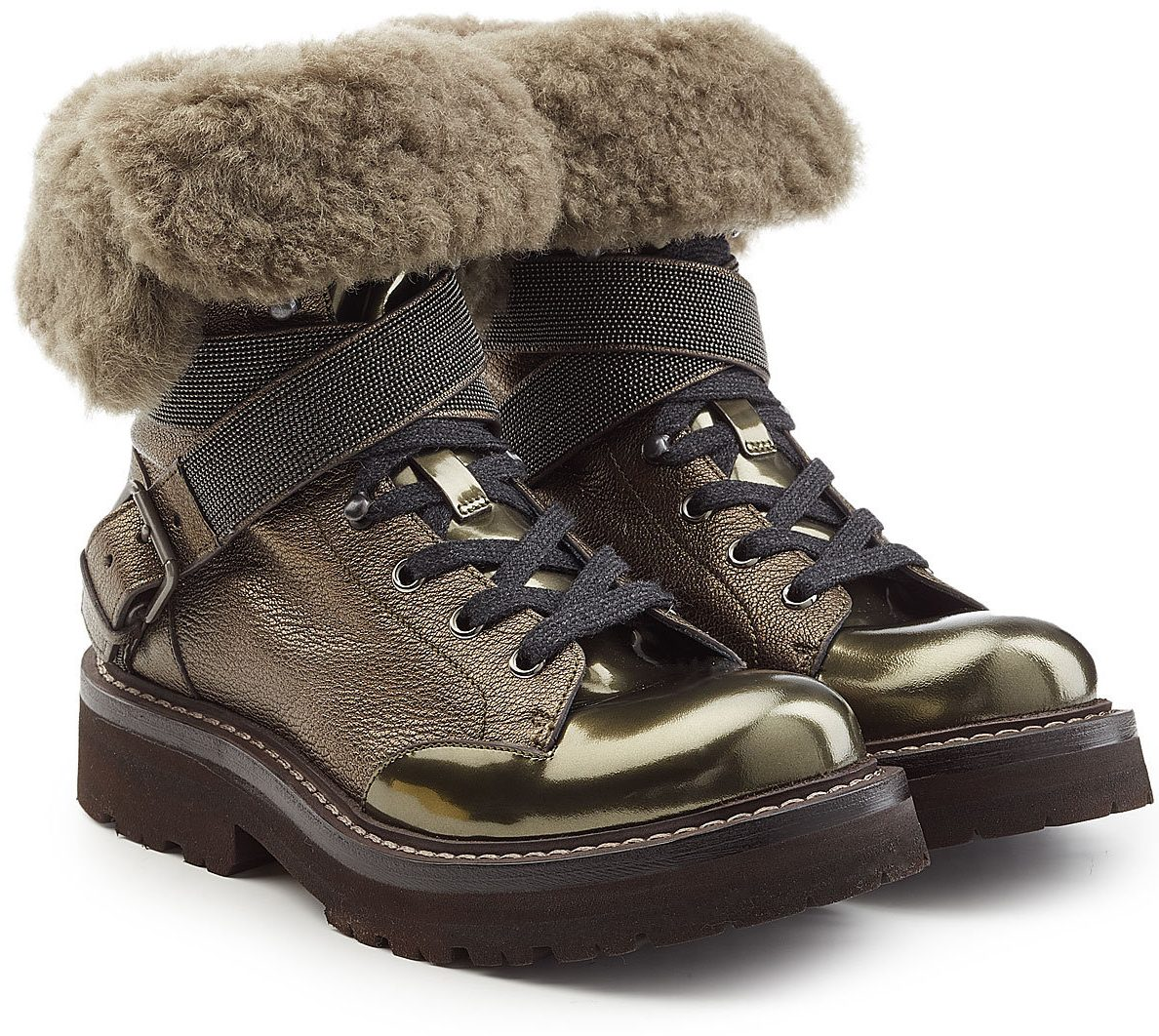 Brunello Cucinelli Embellished Shearling Boots with Metallic Leather
