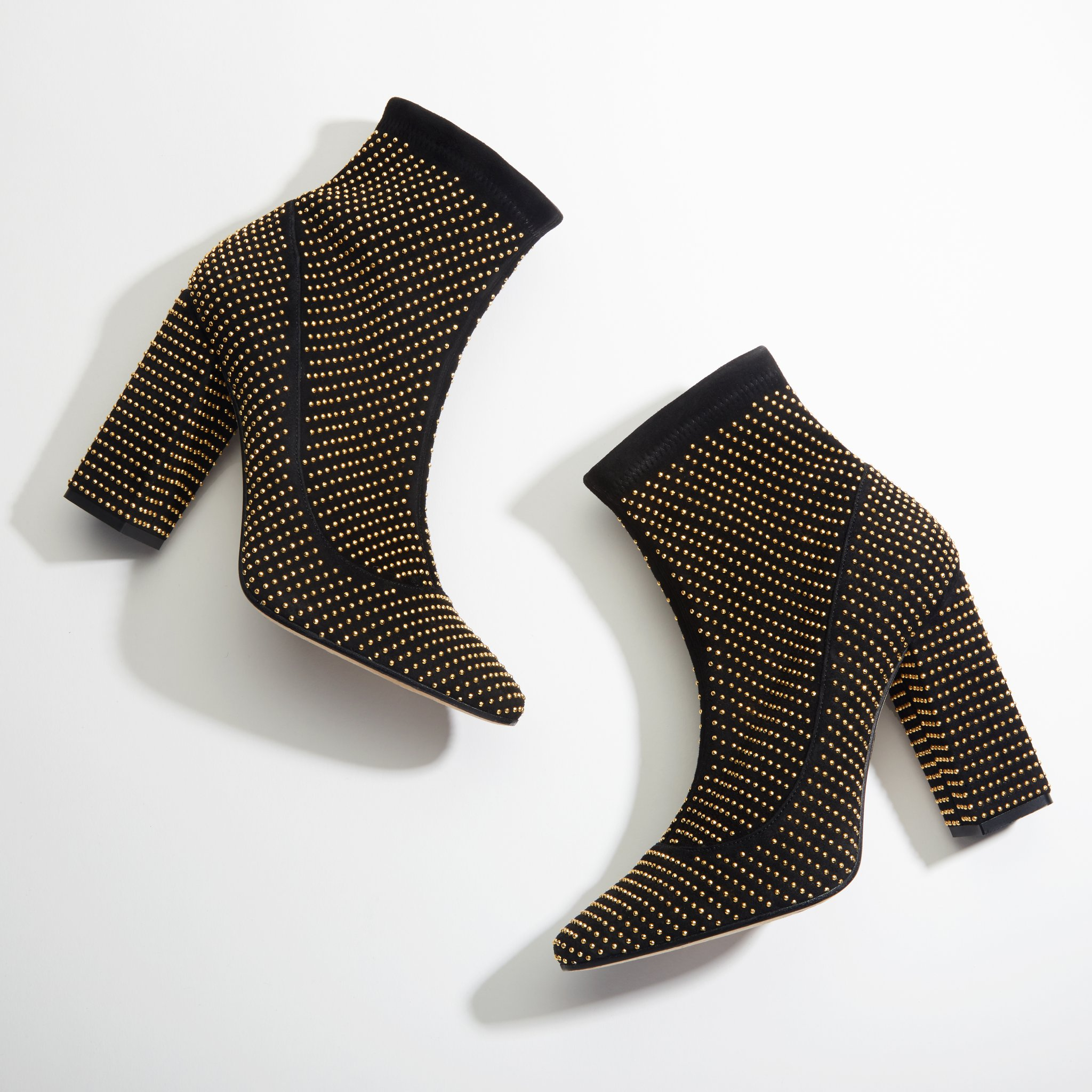 Tamara Mellon boots - attraction pull on stretch suede with micro studs