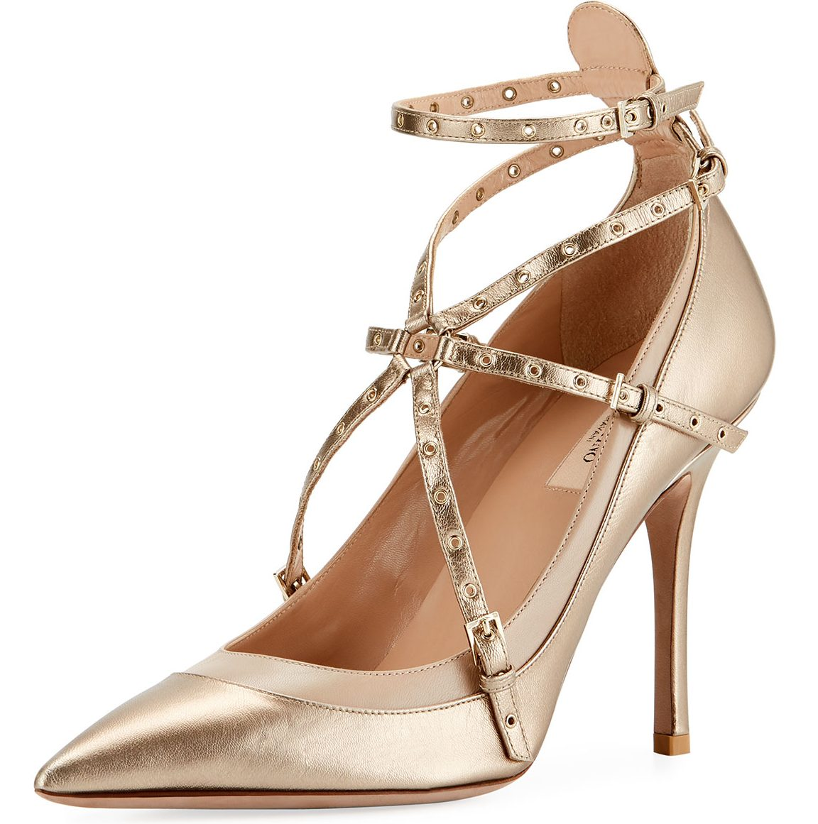 Valentino Metallic Grommet Leather Pump, Medium Beige