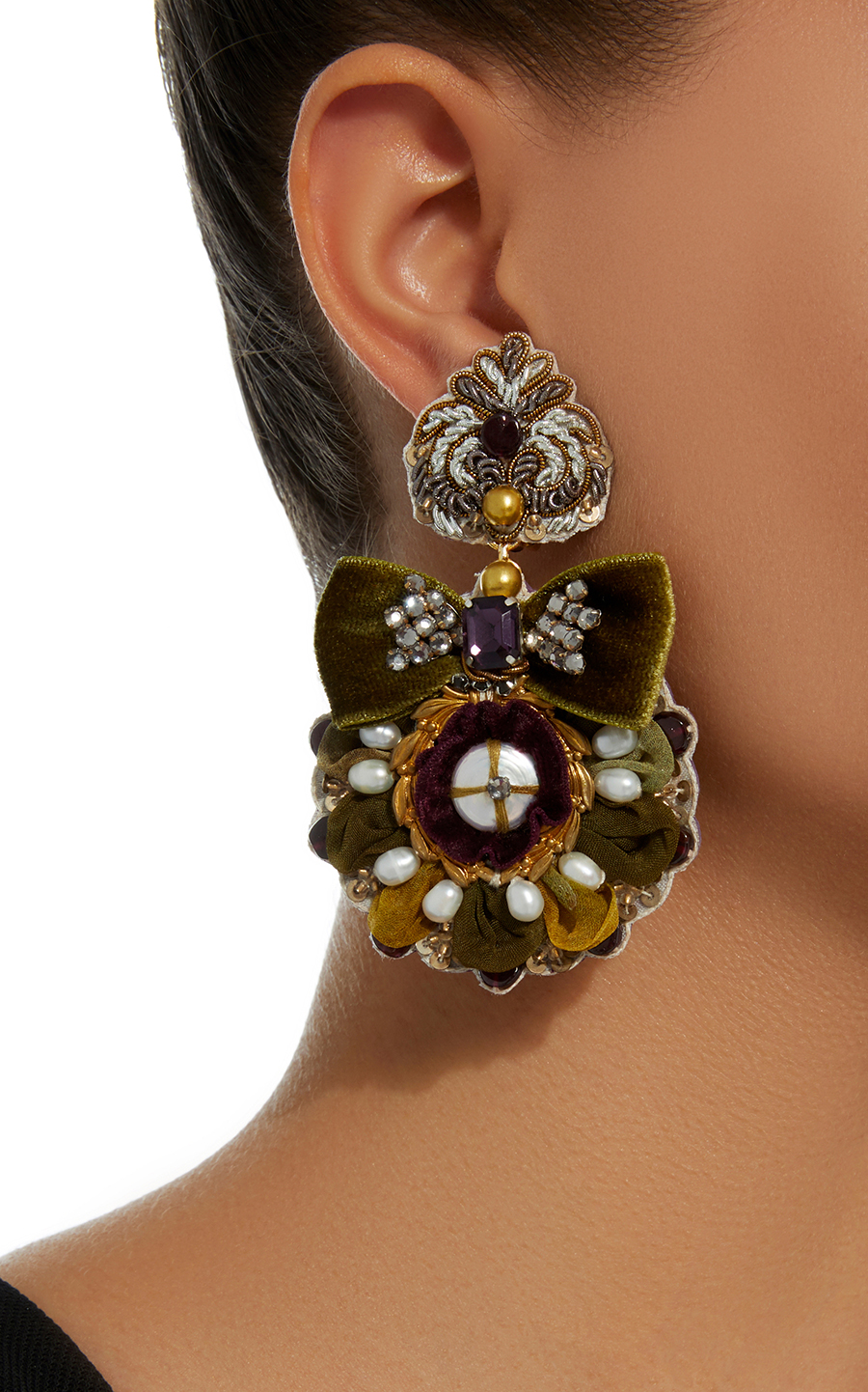 14K Gold-Plated Mother of Pearl and Crystal Ranjana Khan Earrings