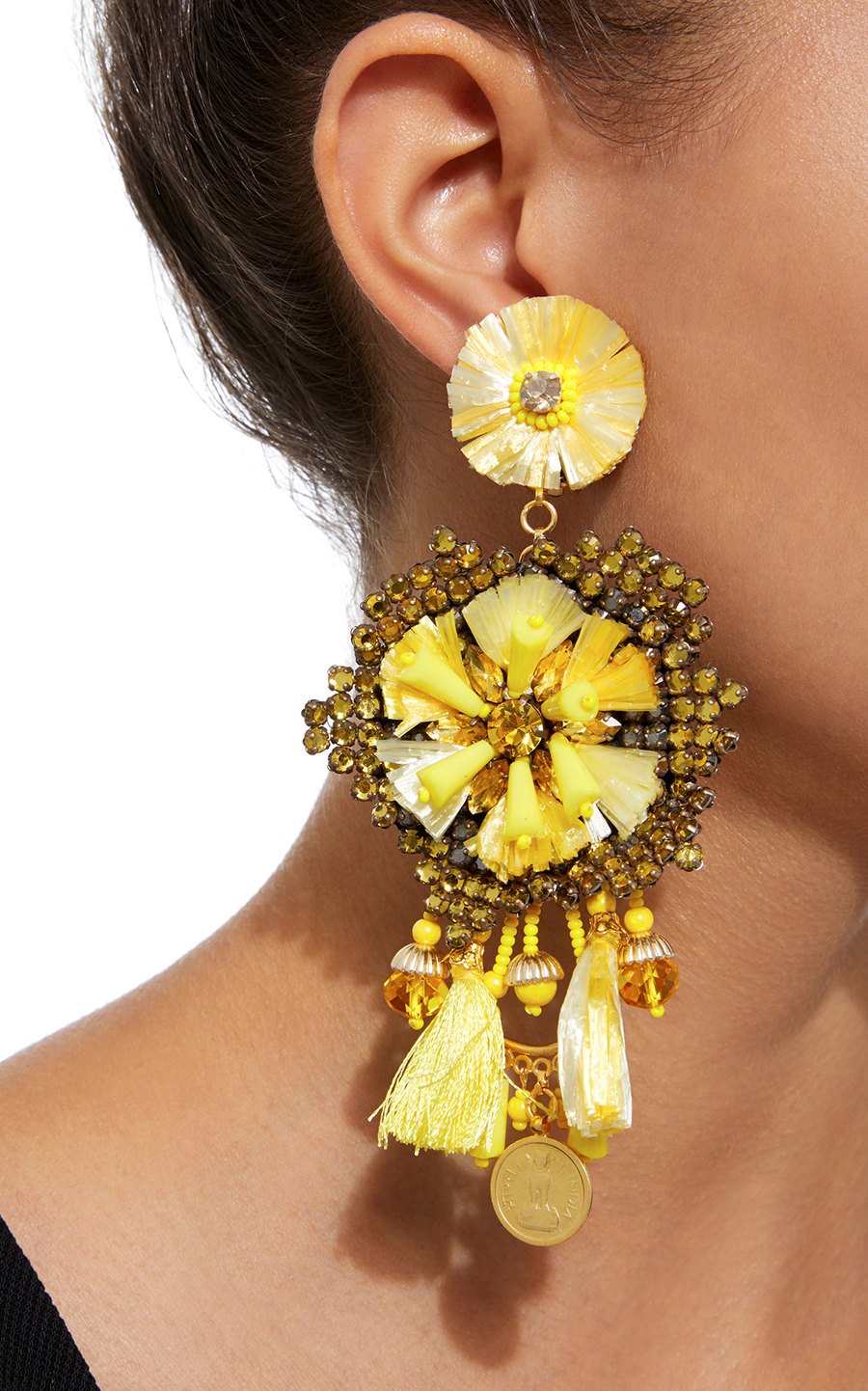 14K Gold-Plated Raffia Leather Crystals Antique Gold Coins Drop Ranjana Khan Earrings stylish clip on earrings