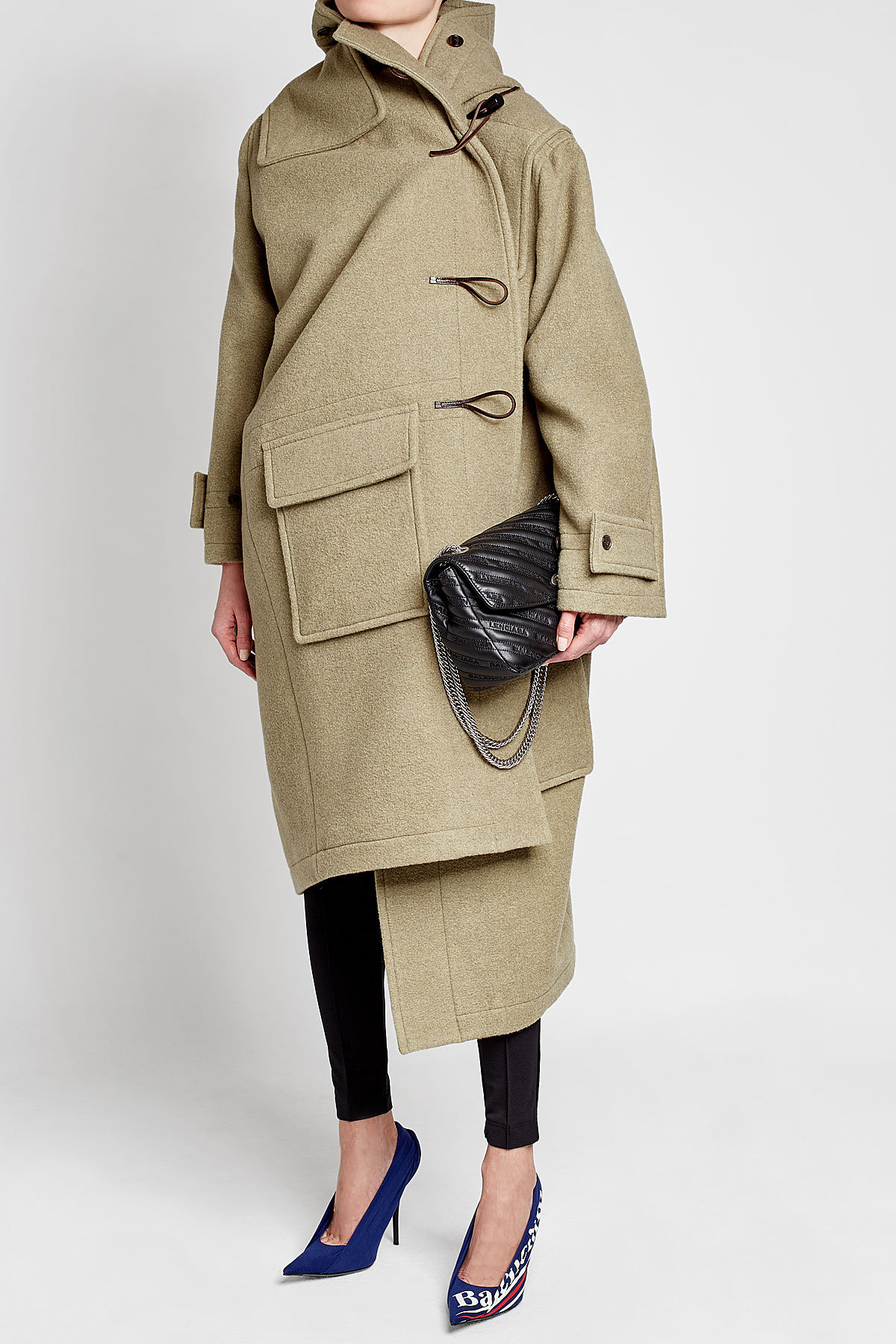Balenciaga asymmetric coat Cashmere Duffle Coat with Silk