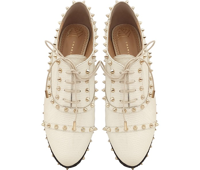 8650776cd Charlotte Olympia Hoxton Ivory Embossed Leather Platform oxford shoes for  women. Tory Burch Arden Beige and Gold ...