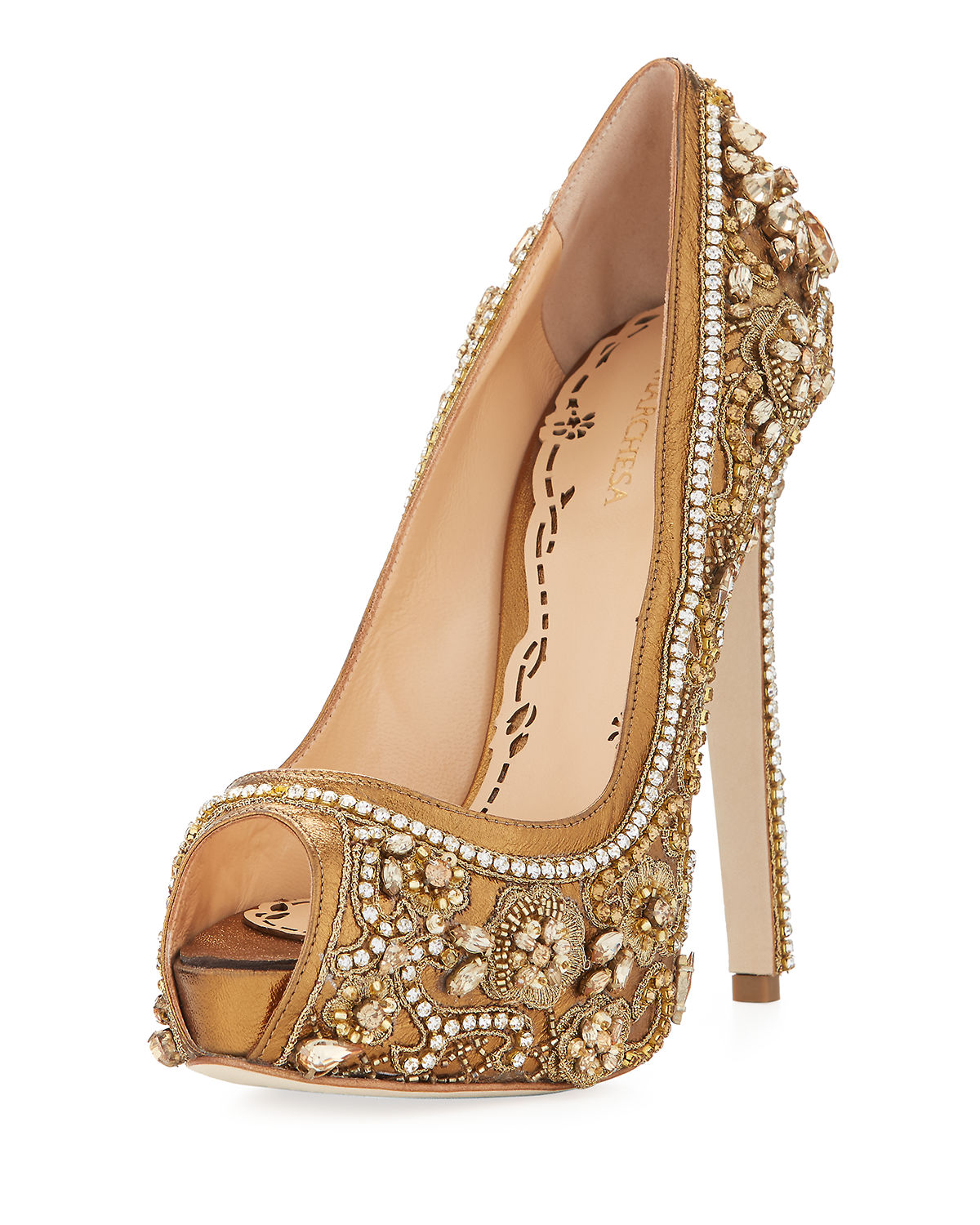 74c4ab0be9 Marchesa Rose Jeweled Peep-Toe Platform Pump Marchesa Rose Jeweled Peep-Toe  Platform Pump Hermes green Vintage Bamboo Birkin Courchevel Satchel Bag