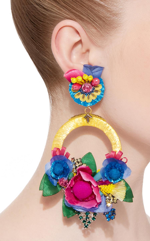 Multi Large Floral Drop Ranjana Khan Earrings