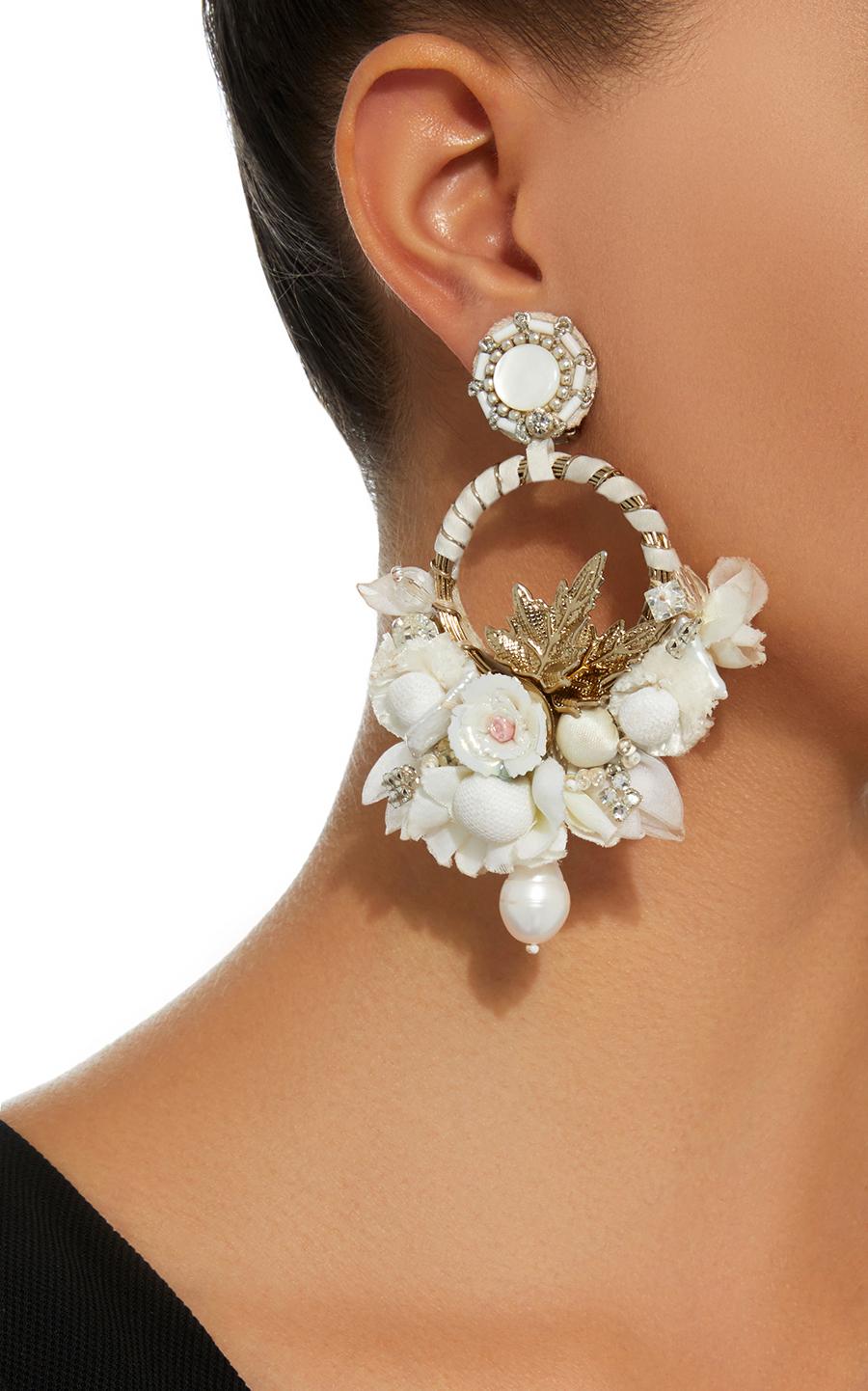 Ranjana Khan earrings White Floral Hoop stylish clip on earrings
