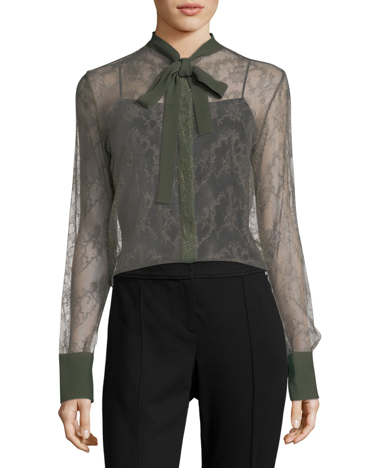 Valentino Lace Tie-Neck Button-Down Blouse