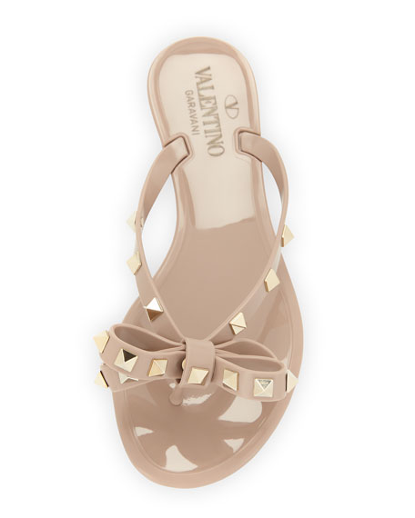 Valentino Rockstud Bow Flat Sandal