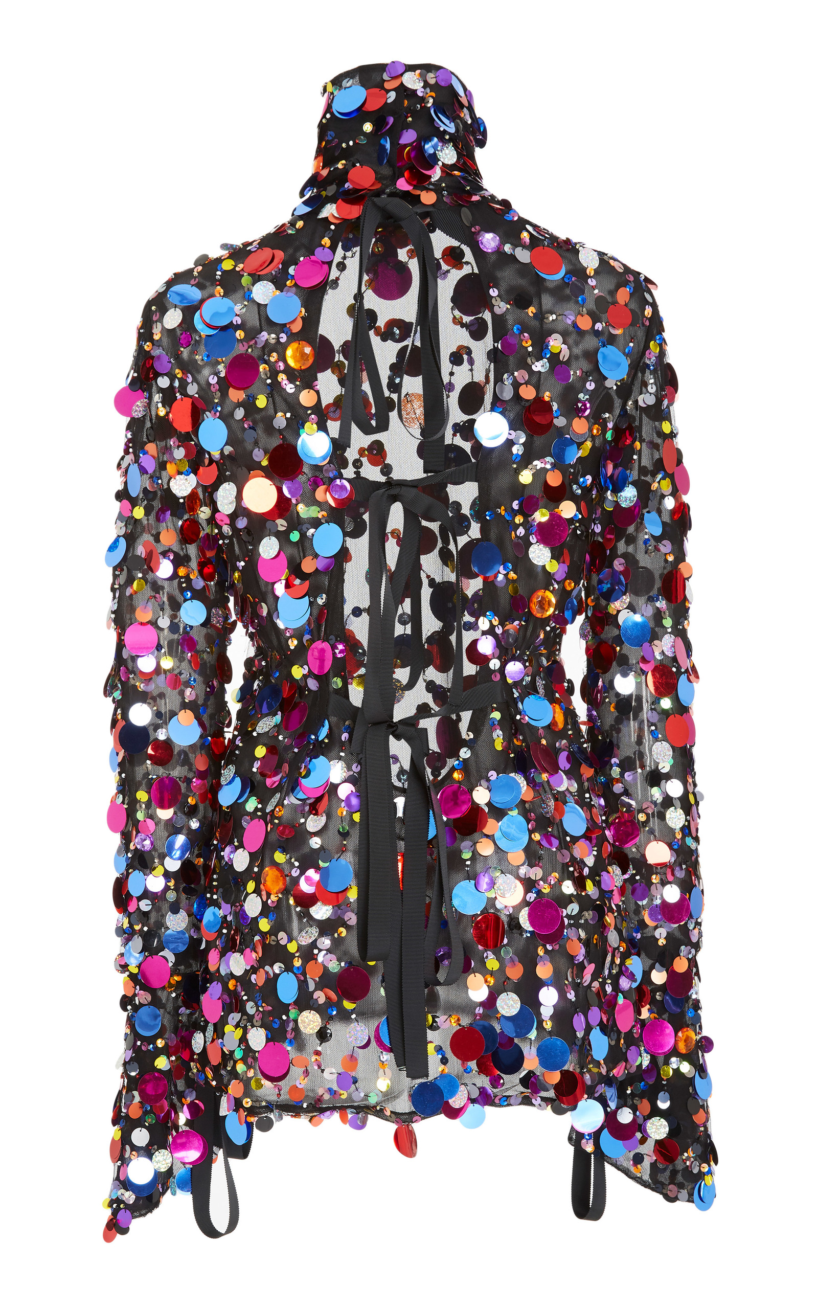 Carolina Herrera Long Sleeve sequin turtle neck back