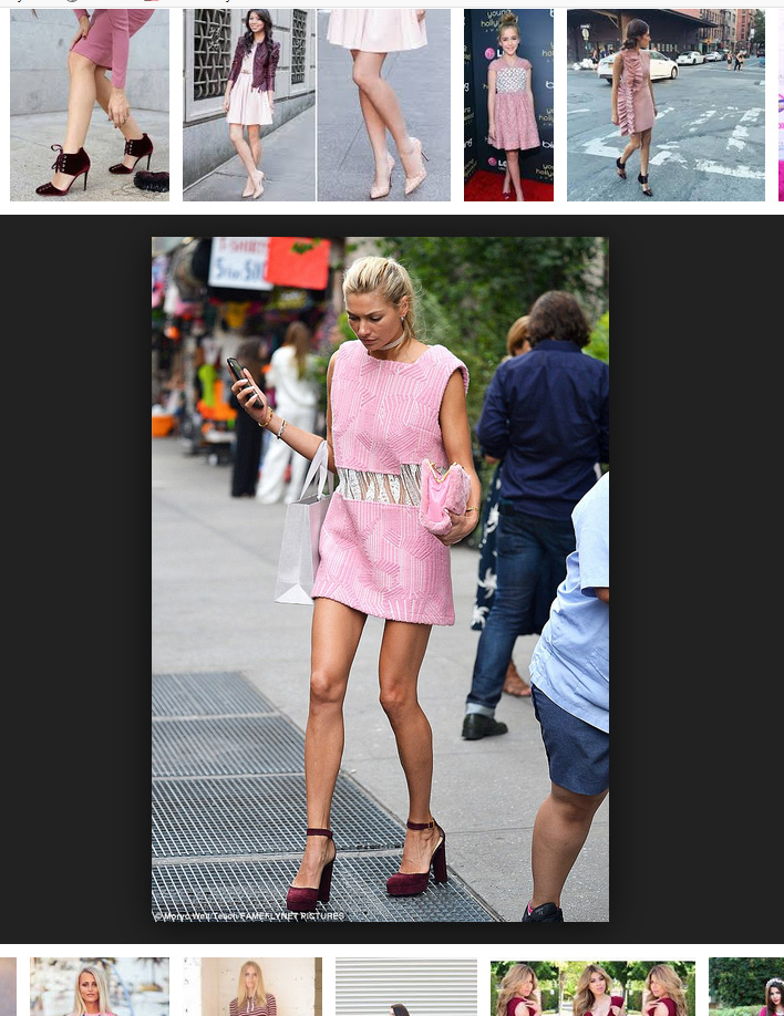 pink dress burgundy shoes