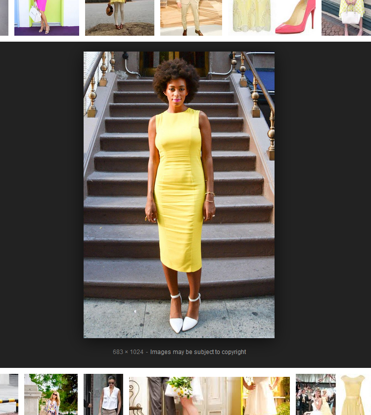 Solange Knowles wearing white shoes with a yellow dress