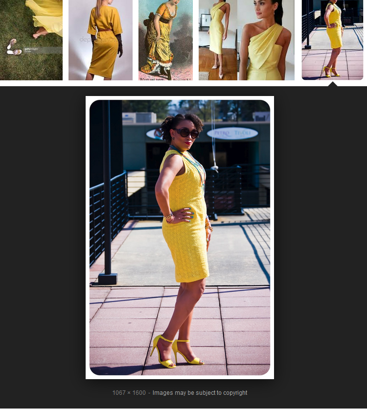 fashion sewing blogger Erica Bunker wears yellow lace dress with yellow high heel sandals